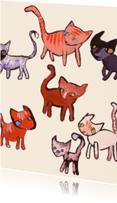 Dierenkaarten - Nieuwsgierige katten