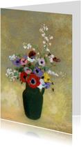 Bloemenkaarten - Odilon Redon. Groene vaas met bloemen