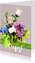 Verjaardagskaarten - Oeps, te laat kaart met bos bloemen