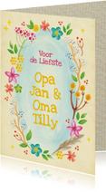 Opa & Omadag kaarten - Opa en oma dag bloemenkrans