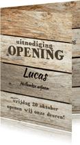 Uitnodigingen - Openingskaart met Steigerhout