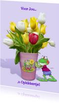 Beterschapskaarten - Opkikker met tulpen in vaas