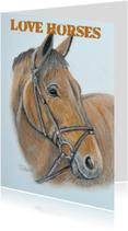 Dierenkaarten - Paardenhoofd getekend