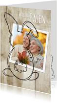 Paaskaarten - Paashaas - hip hout en foto -SG