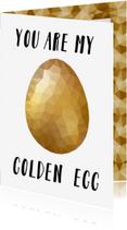 Paaskaarten - Paaskaart met een glanzend gouden low poly paasei
