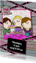 Uitnodigingen - PARTY GIRLS High Tea HOUT lint