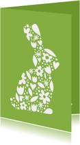 Paaskaarten - Pasen bloem konijn