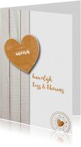 Menukaarten - Pastelkleur hout gouden hart