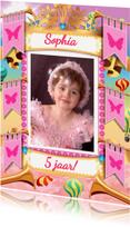 Kinderfeestjes - Prinsessen uitnodiging met een kroontje