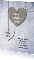 Verhuiskaarten - Print van hangende harten & txt