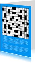 Verjaardagskaarten - Puzzelkaart kruiswoordpuzzel met verjaardagswens