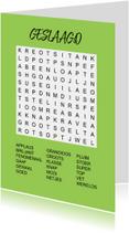 Geslaagd kaarten - Puzzelkaartje met woordzoeker geslaagd