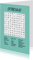 Felicitatiekaarten - Puzzelkaartje met woordzoeker Getrouwd