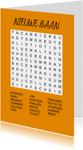 Felicitatiekaarten -  Puzzelkaartje met woordzoeker Nieuwe Baan