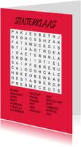 Puzzelkaartje met woordzoeker Sinterklaas