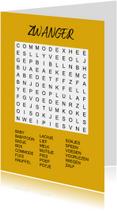 Felicitatiekaarten - Puzzelkaartje met woordzoeker Zwanger