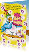 Verjaardagskaarten - rocco gefeliciteerd 3 papegaai met taart