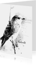 Rouwkaarten - Rouwkaart Eenzaam Vogeltje Brush