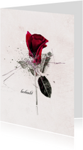 Rouwkaarten - Rouwkaart Roos Rood Bedankt