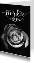 Condoleancekaarten - Rouwkaart sterkte roos zwart wit