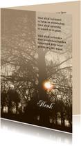 Rouwkaarten - Rouwkaart zon door bomen met gedicht en tekstvoorstel