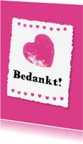 Bedankkaartjes - roze bedankt kaart