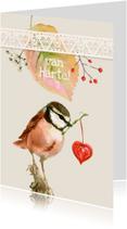 Verjaardagskaarten - Roze vogeltje met een hartje
