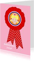Verjaardagskaarten - Rozet verjaardagskaart