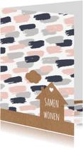 Verhuiskaarten - Samenwonen kaart met verfstrepen
