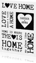 Verhuiskaarten - Samenwonen kaart tekst zwartwit