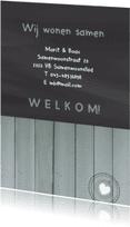 Verhuiskaarten - Samenwonen krijt hout zelf tekst