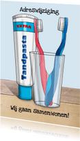 Verhuiskaarten - Samenwonen met tandenborstels samen