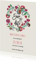 Trouwkaarten - Save the Date Bohemian Bloemen