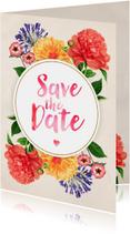 Trouwkaarten - Save the Date Botanisch Aquarel