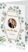Trouwkaarten - Save the date euqalyptusblad