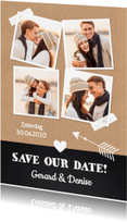 Trouwkaarten - Save the Date fotocollage Kraft - LB