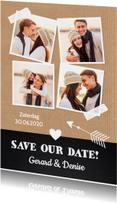 Trouwkaarten - Save the Date fotocollage Kraft