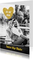 Trouwkaarten - Save the Date goud hart - OT