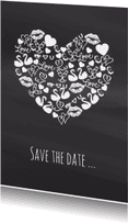 Trouwkaarten - Save the date iconenhart krijt