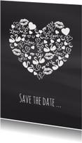 Trouwkaarten - Save the date iconenhart krijt