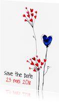 Trouwkaarten - Save the date kaart hartjesbloem