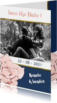 Trouwkaarten - Save the Date kaart in navyblue en goud, met roos en foto
