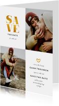 Trouwkaarten - Save the date kaart met foto's en gouden accenten