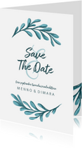 Trouwkaarten - Save the date kaart met geschilderde bladeren staand