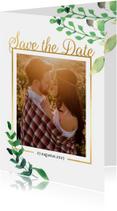 Trouwkaarten - Save the Date kaart Stijlvol wit met goud