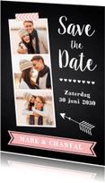 Trouwkaarten - Save the Date krijtbord fotocollage