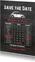 Trouwkaarten - Save the date krijtbord kever av