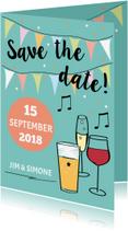 Trouwkaarten - Save the date met drank en namen