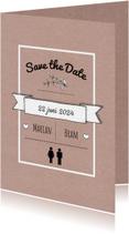Trouwkaarten - Save the Date papier tekst - HR