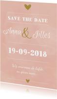 Trouwkaarten - Save the Date roze/oudgroen
